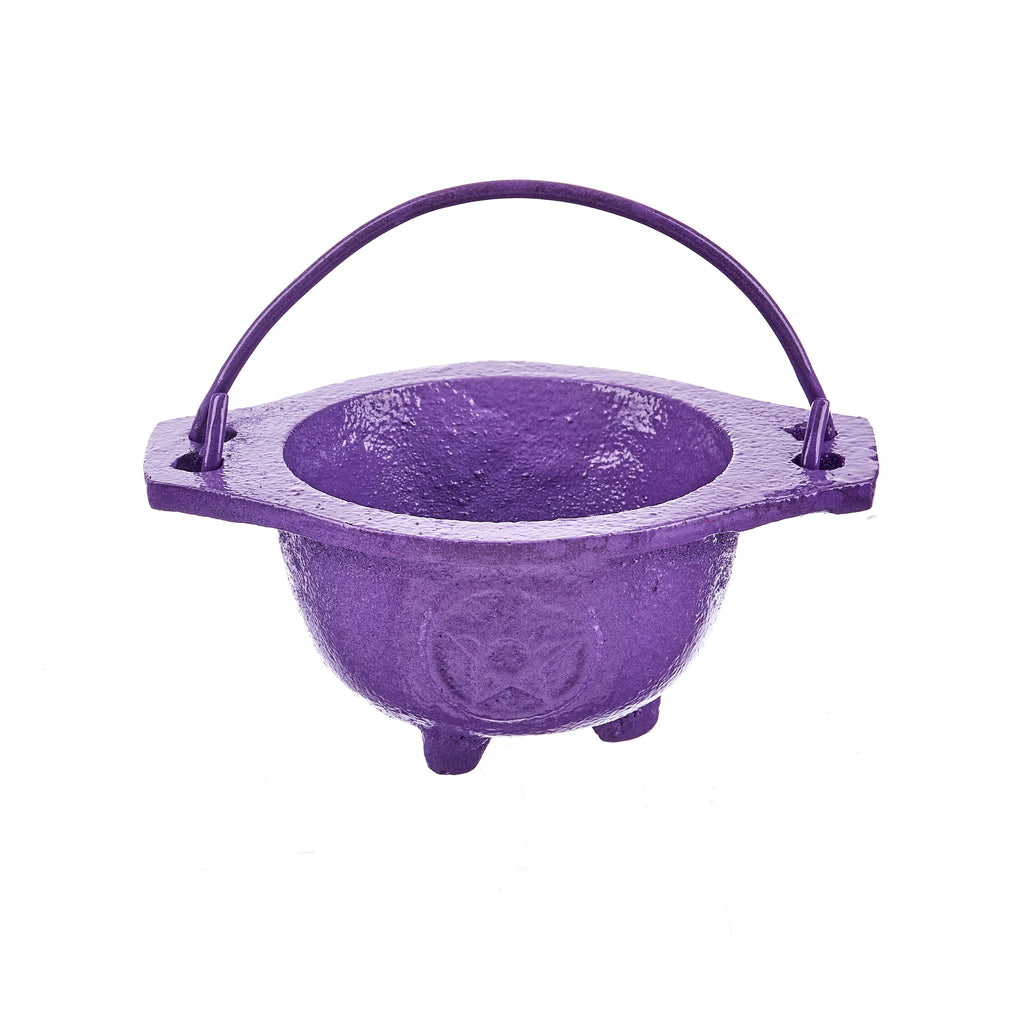 Pentacle Cast Iron Cauldron - Lavender