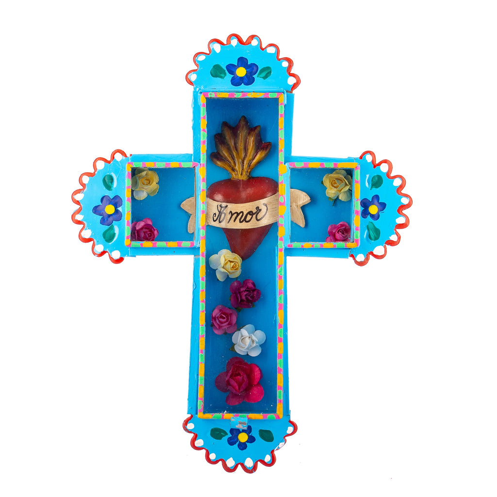 Mexican Handcrafts // Large Blue 'Love' Wall Cross