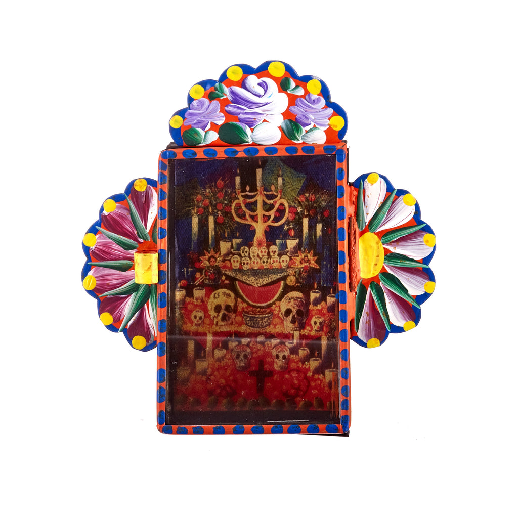 Mexican Handcrafts // Orange Day Of The Dead Wall Hanging / Ornament