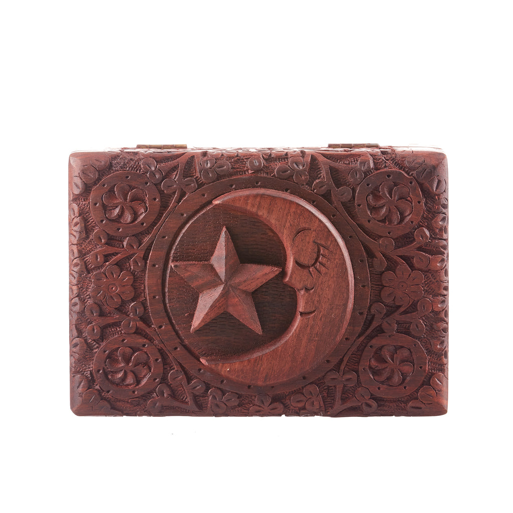 Star & Moon Carved Box