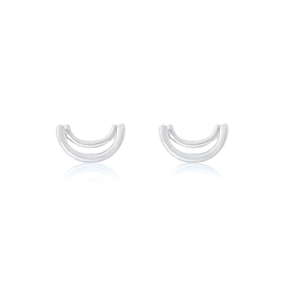 Double Arc Stud Earrings - Sterling Silver