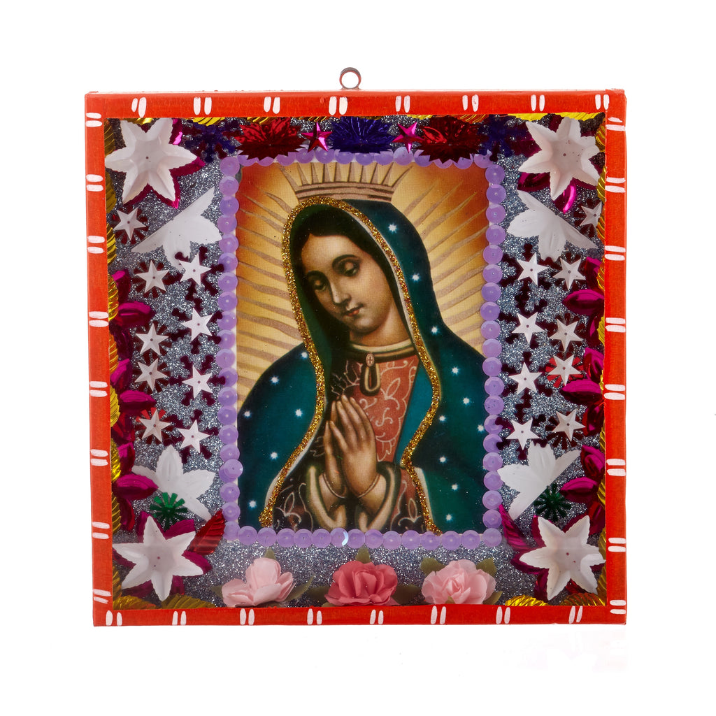 Mexican Handcrafts // Large Orange Mary Wall Hanging / Ornament