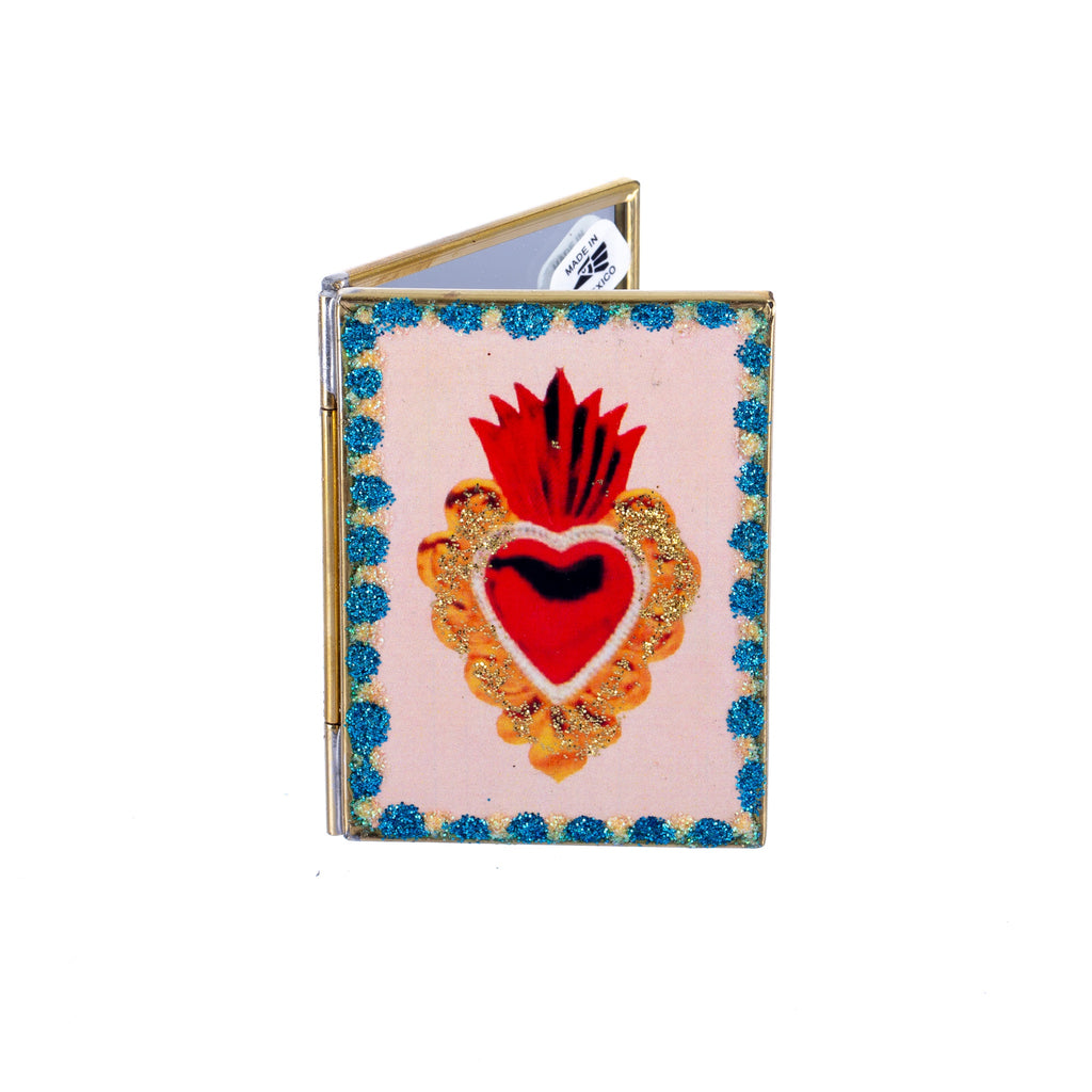 Mexican Handcrafts // Sacred Heart Compact Mirror - Assorted