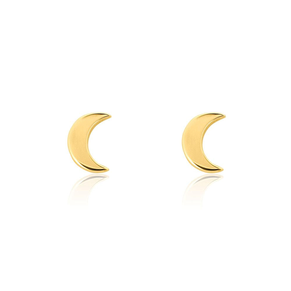 Linda Tahija // Moon Stud Earrings - Yellow Gold Plated Sterling Silver
