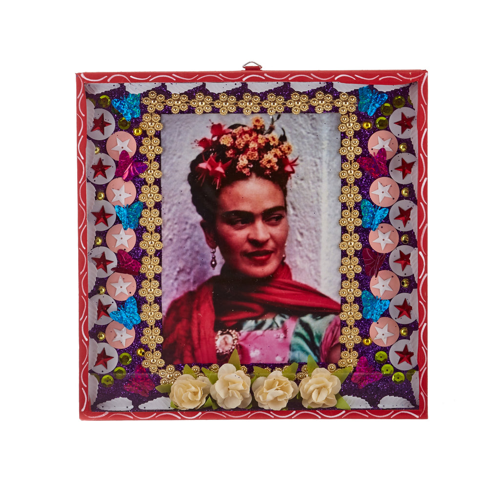 Mexican Handcrafts // Large Red Frida Wall Hanging / Ornament