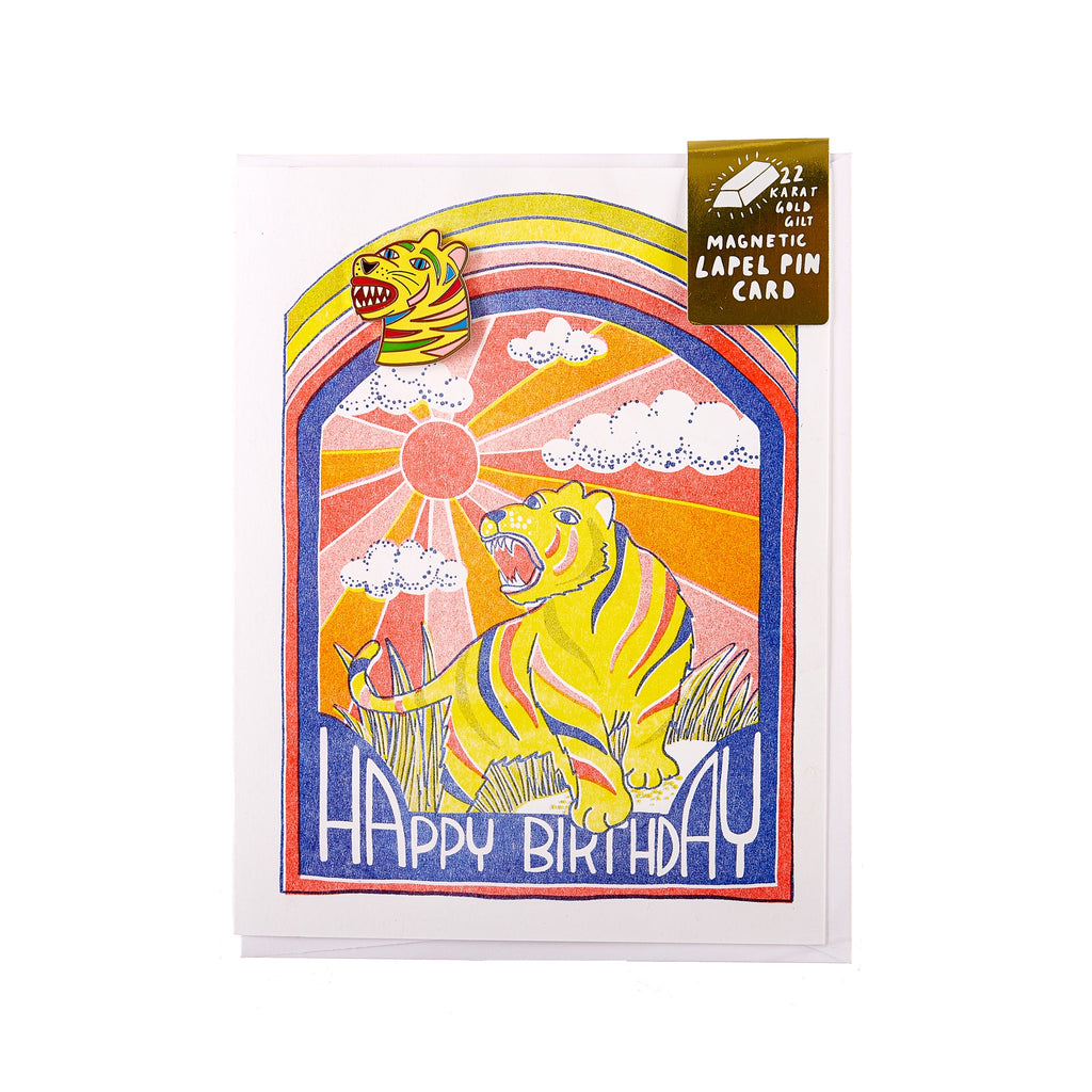 Yellow Owl // Magnetic Pin Greeting Card - Happy Birthday Tiger