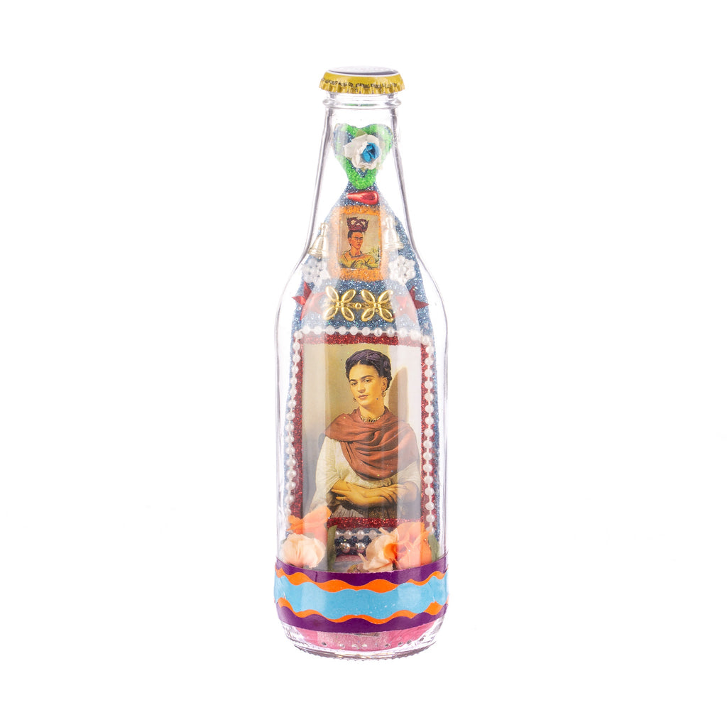 Mexican Handcrafts // Frida Beer Bottle - Blue