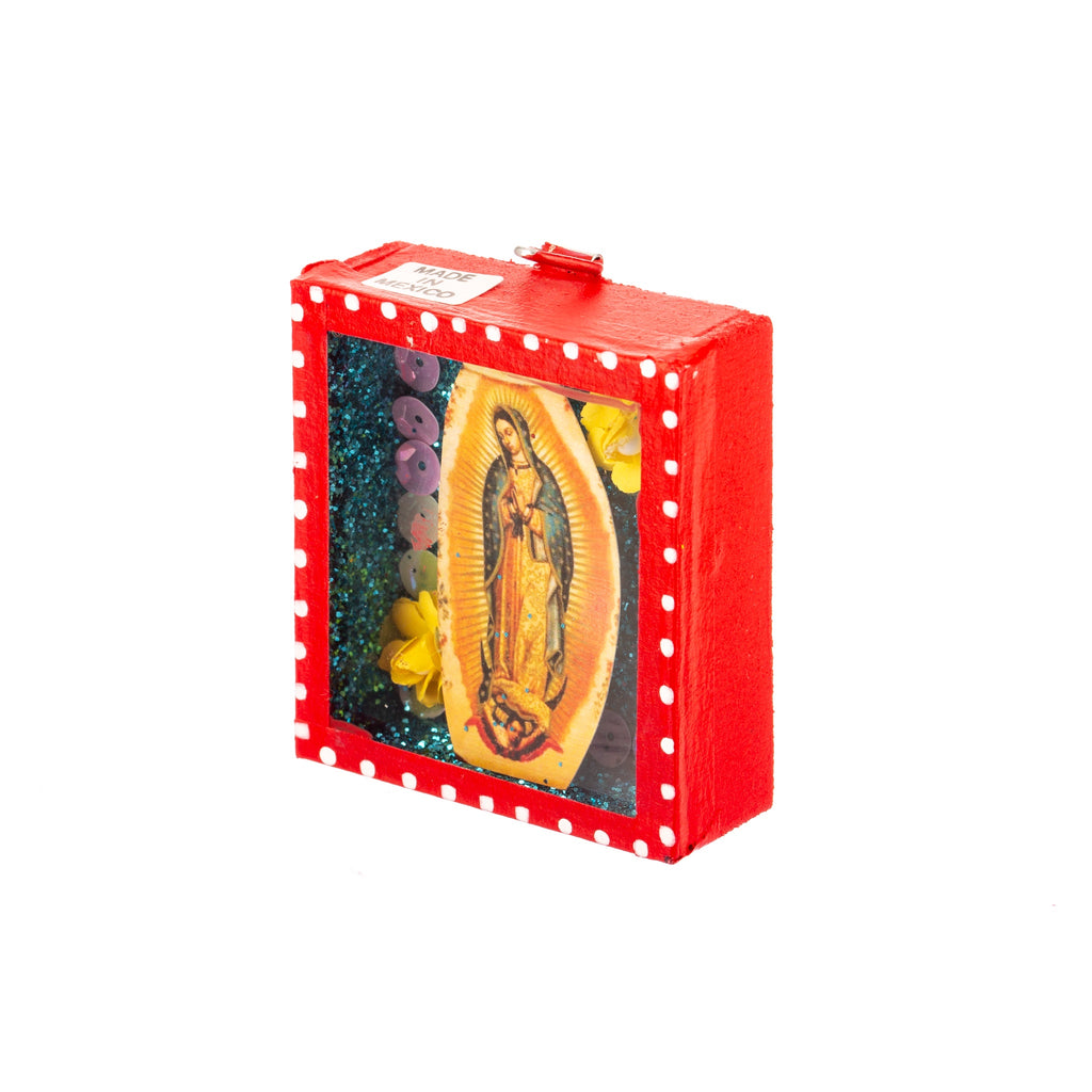 Mexican Handcrafts // Mini Guadalupe Mary Glass Box / Wall Hanging I