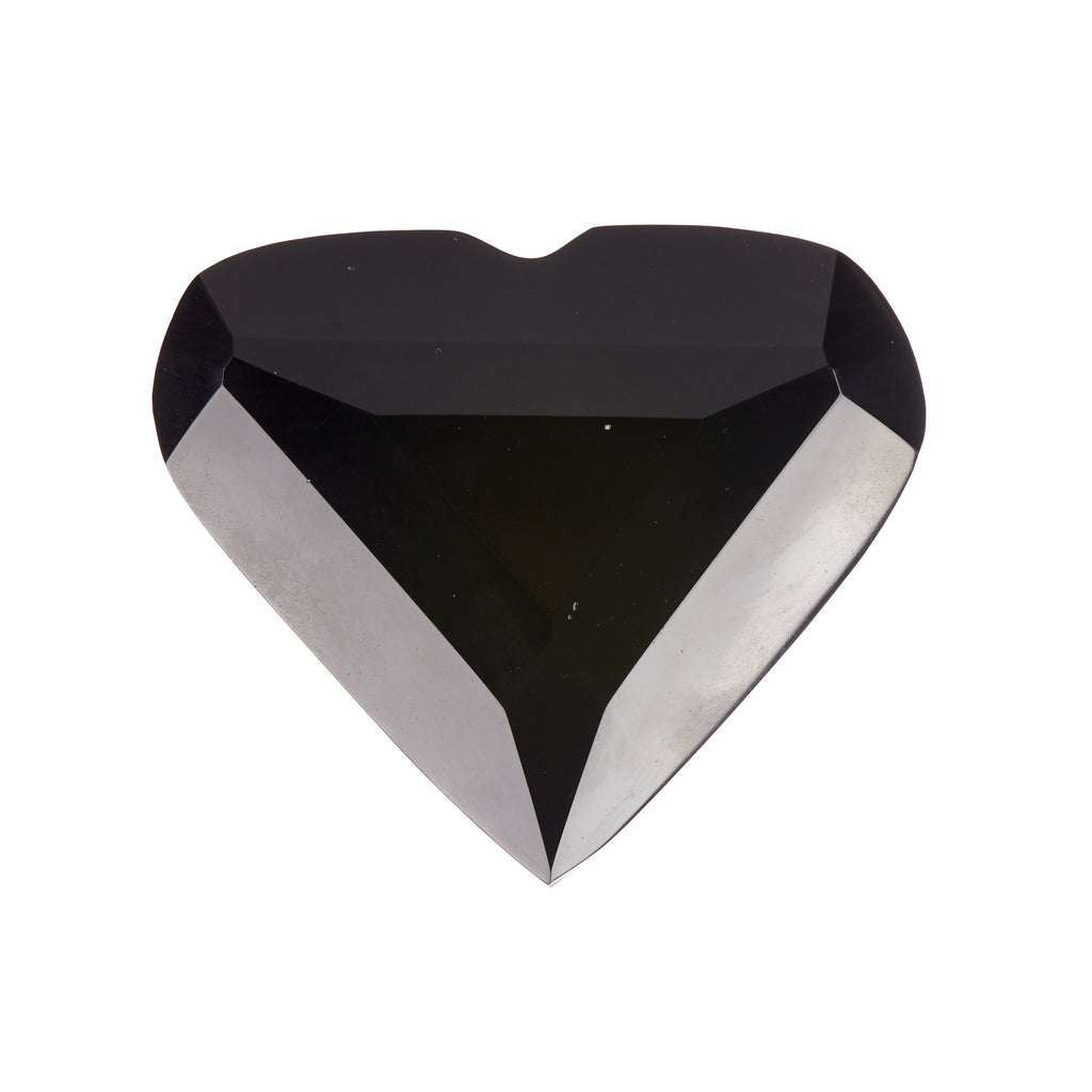 Black Obsidian Faceted Heart #7