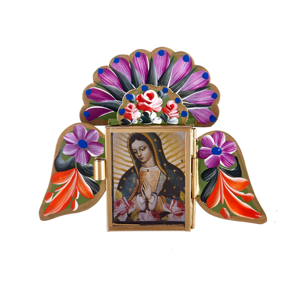 Mexican Handcrafts // Green Mary Wings Wall Hanging / Ornament