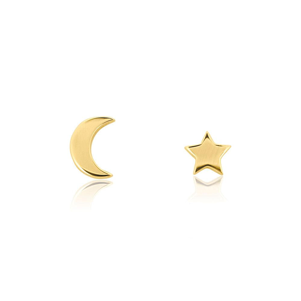 Star & Moon Stud Earrings - Yellow Gold Plated Sterling Silver Star & Moon Stud Earrings