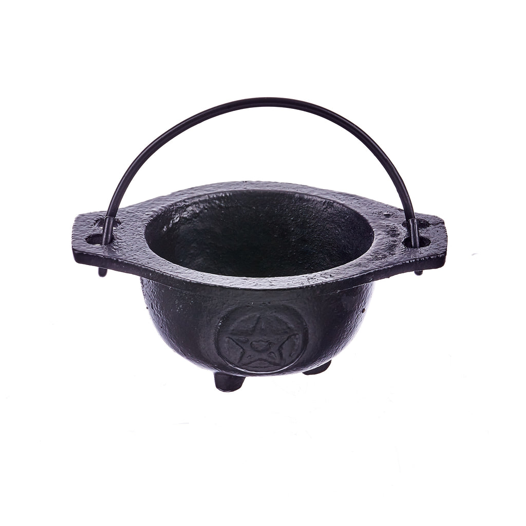 Pentacle Cast Iron Cauldron - Black