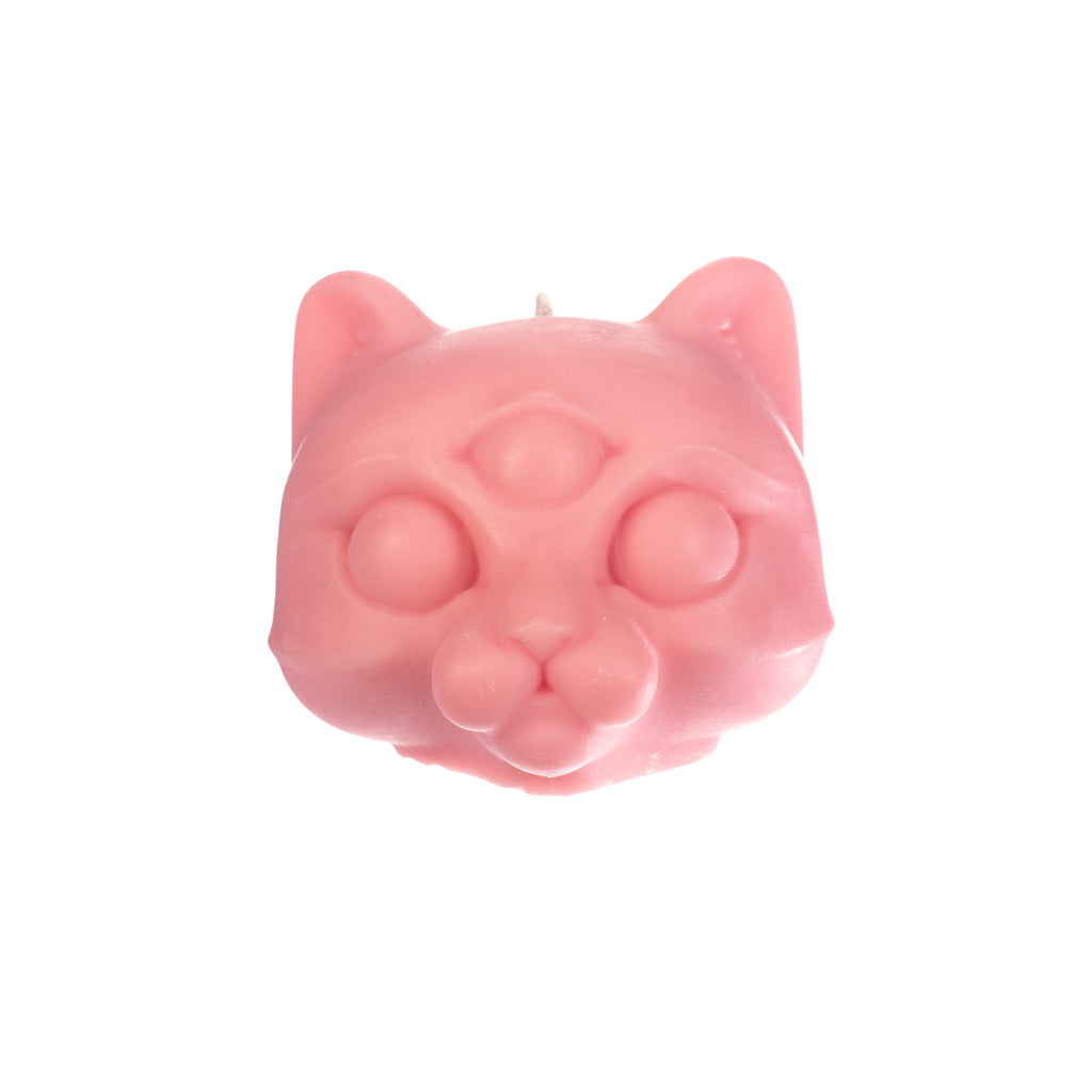 You, Me & Bones // Cat Head Candle - Pink