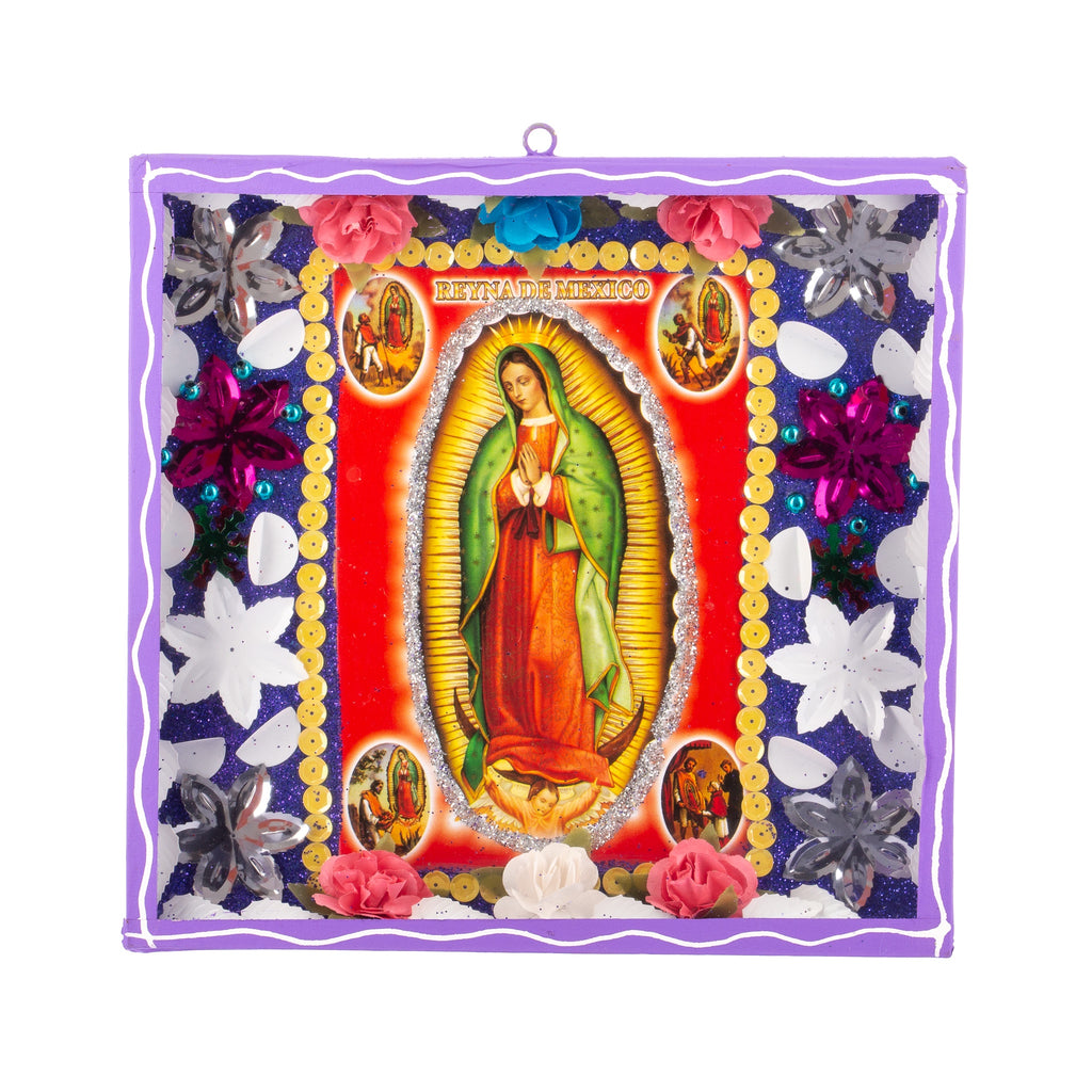 Mexican Handcrafts // Virgin Mary Glass Box / Wall Hanging II