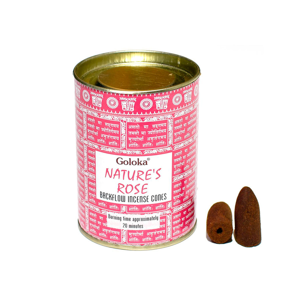 Goloka //  Nature's Rose Backflow Incense Cones
