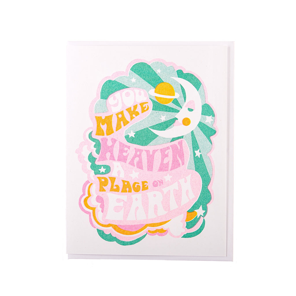 Yellow Owl // You Make Heaven A Place On Earth Greeting Card