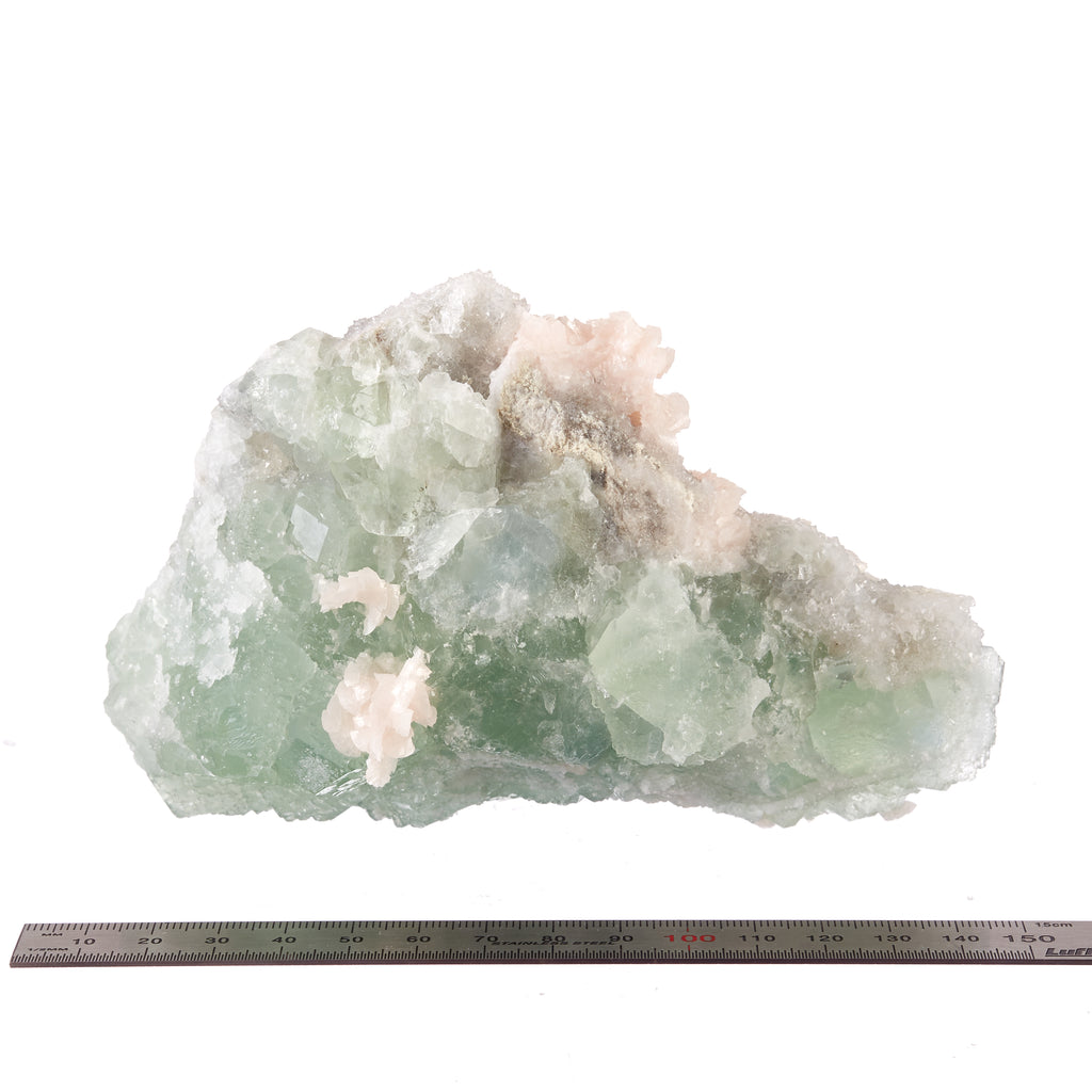Green Fluorite with Pink Calcite & Quartz #2