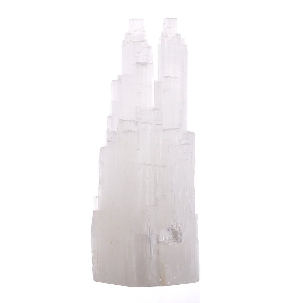 Selenite Twin Tower Lamp // 38cm