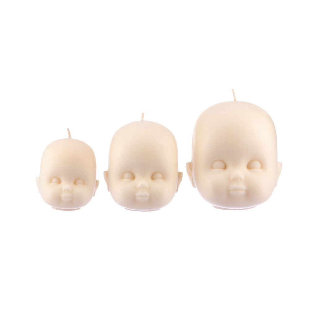 You, Me & Bones // Doll Head Candle - White