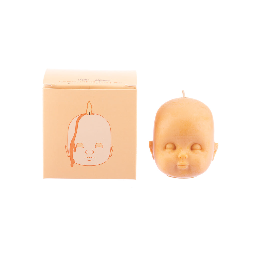 You, Me & Bones // Large Doll Head Candle - Orange