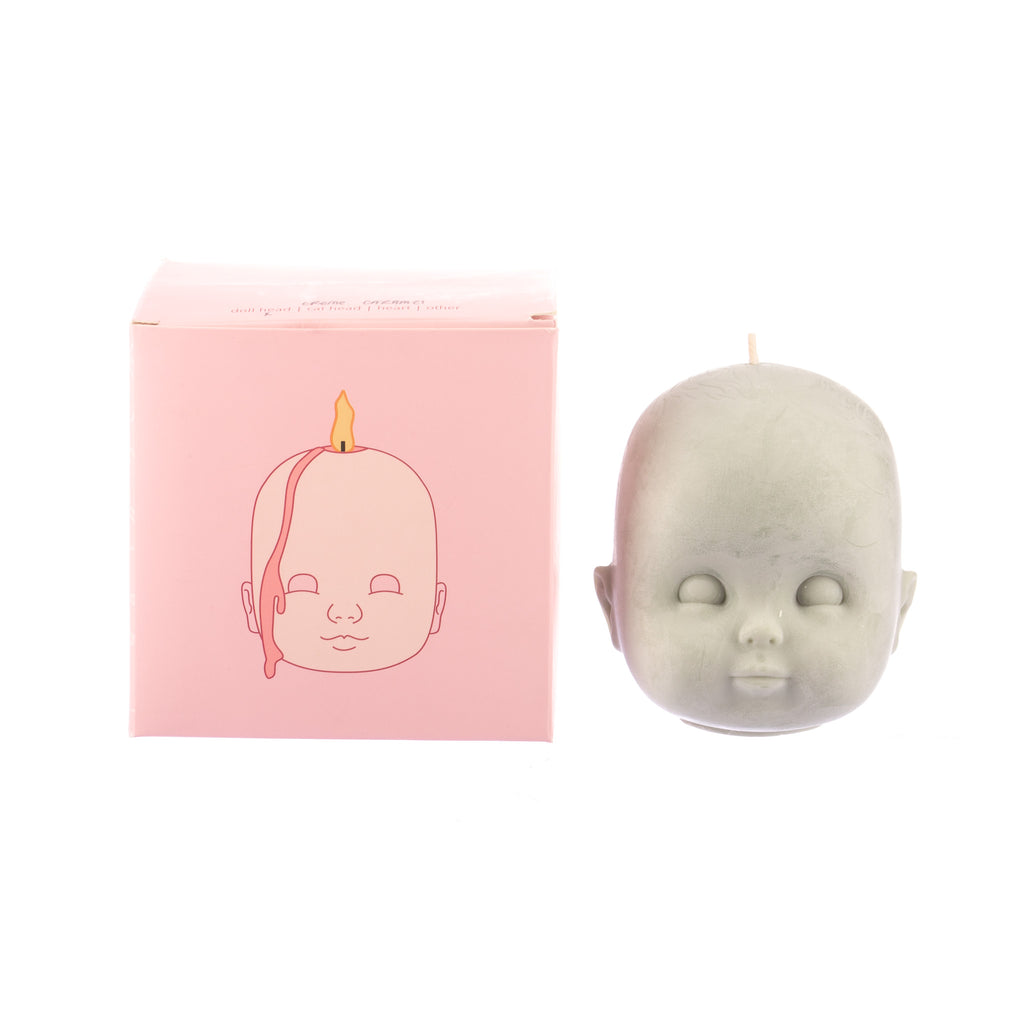 You, Me & Bones // Doll Head Candle - Olive Green