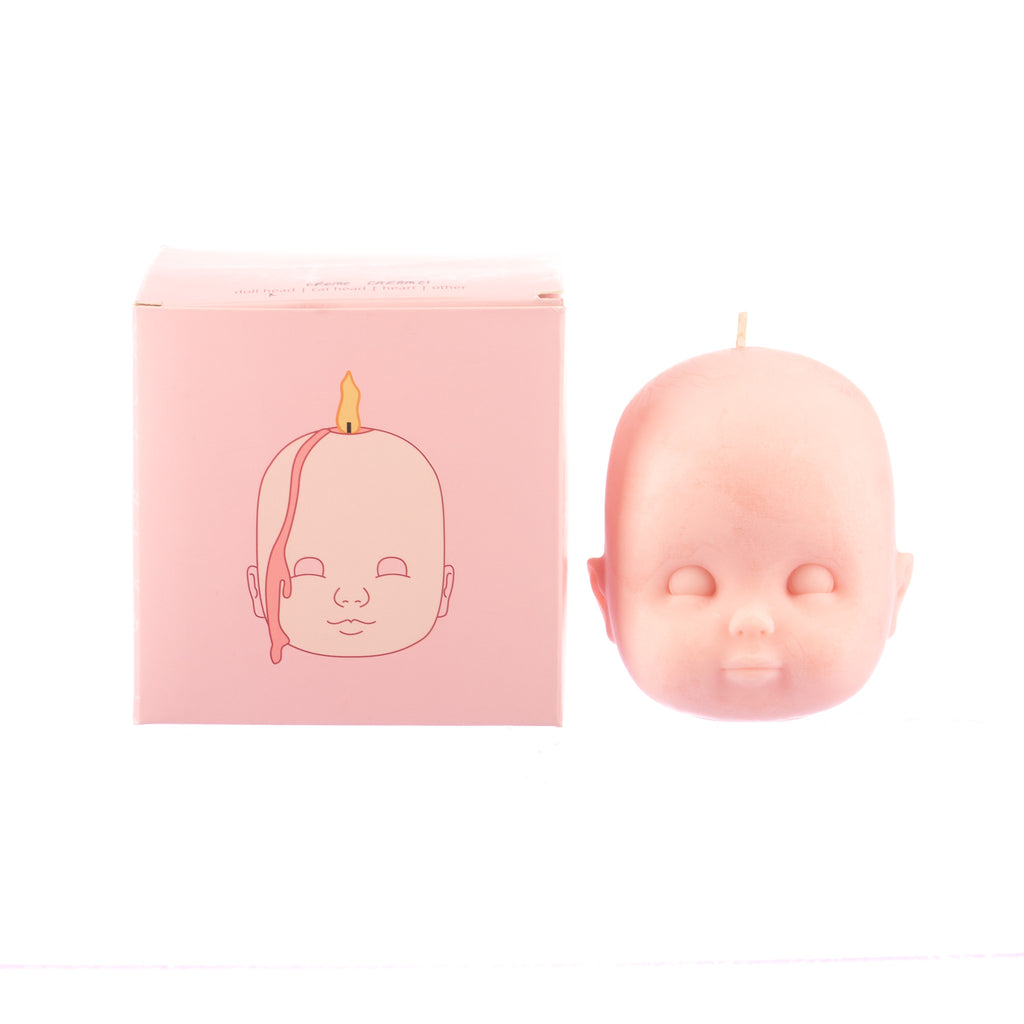 You, Me & Bones // Doll Head Candle - Pink