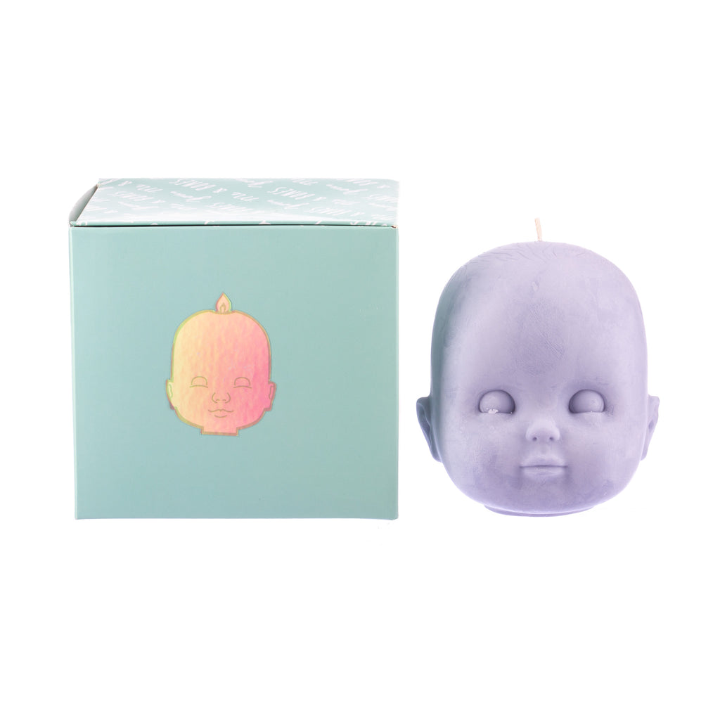 You, Me & Bones // Doll Head Candle - Purple