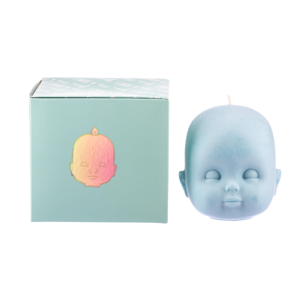You, Me & Bones // Doll Head Candle - Blue