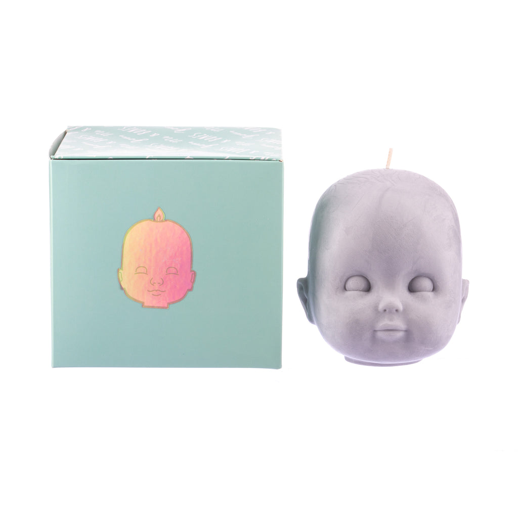 You, Me & Bones // Doll Head Candle - Grey