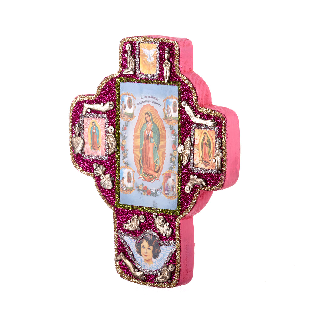 Mexican Handcrafts // Pink Glitter Mary Wall Cross