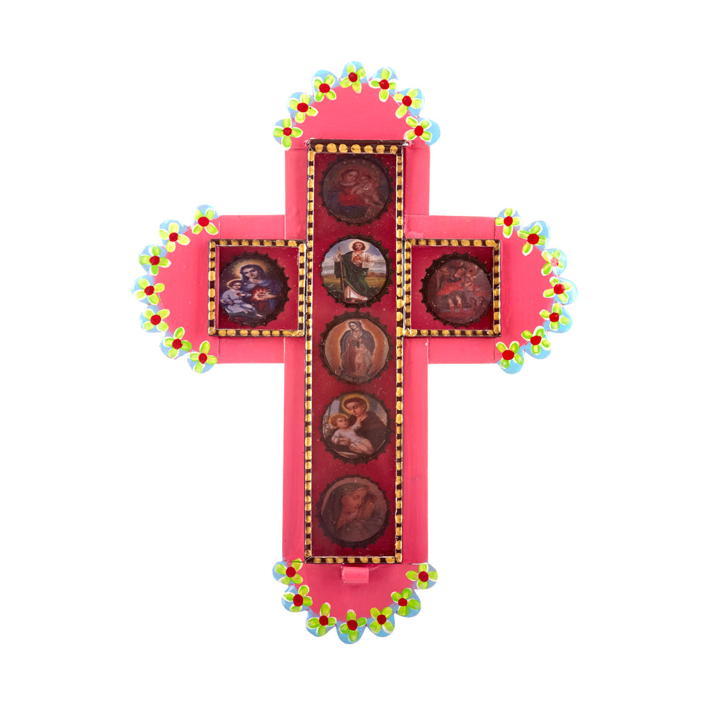 Mexican Handcrafts // Pink Cross With Bottle Tops