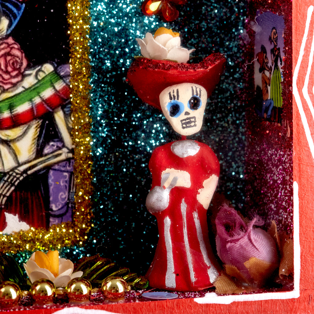 Mexican Handcrafts // Day Of The Dead Red Ornament Box