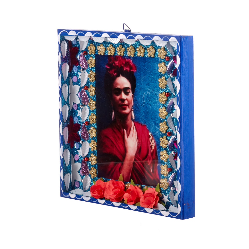Mexican Handcrafts // Large Blue Frida Wall Hanging / Ornament