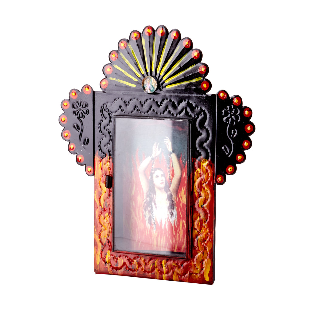 Mexican Handcrafts // Lady In Flames & Flower Detail Wall Hanging / Ornament