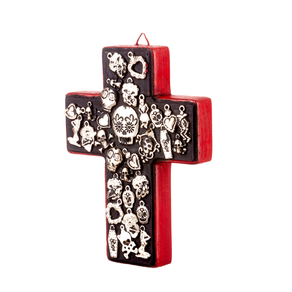 Mexican Handcrafts // Day Of The Dead Black Cross Silver Symbols