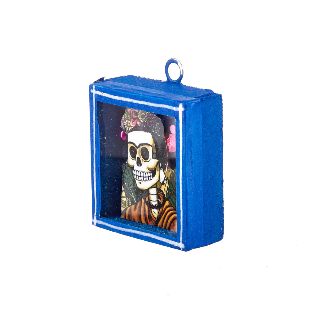 Mexican Handcrafts // Small Blue Day Of The Dead Wall Hanging / Ornament