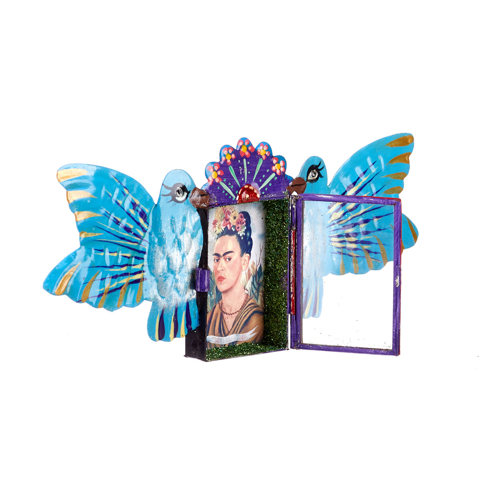 Mexican Handcrafts // Blue Doves & Frida Wall Hanging / Ornament