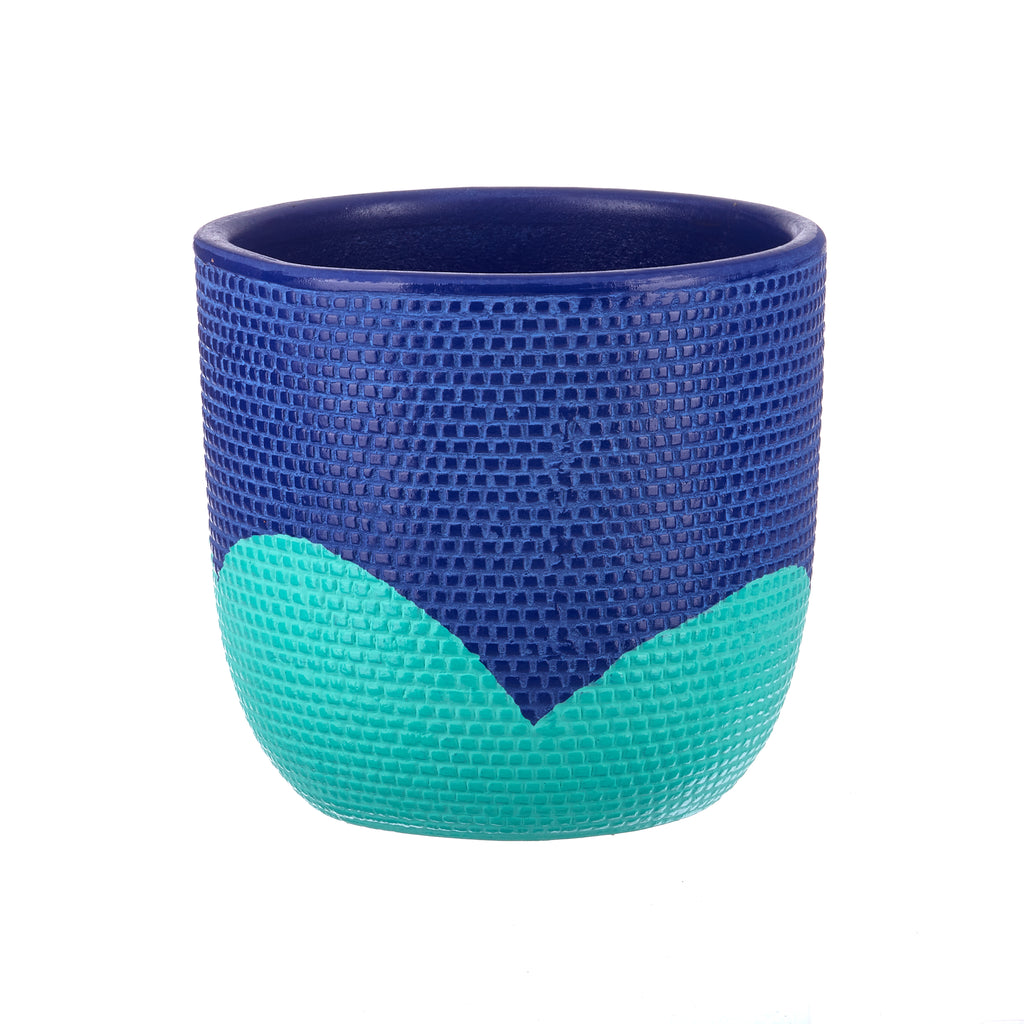 Jones & Co //  Mint & Navy Petal Pot