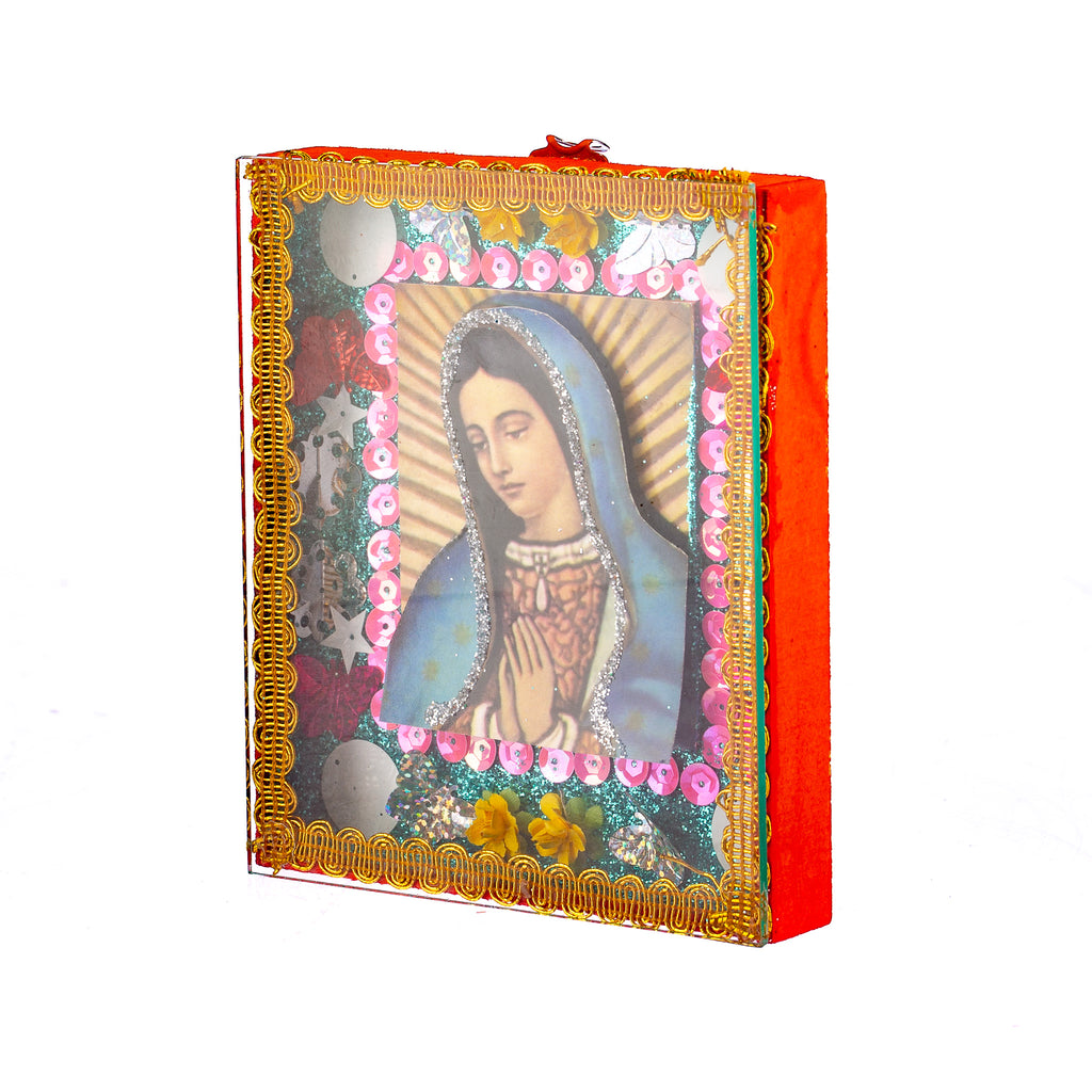 Mexican Handcrafts // Virgin Mary Glass Box / Wall Hanging - Orange