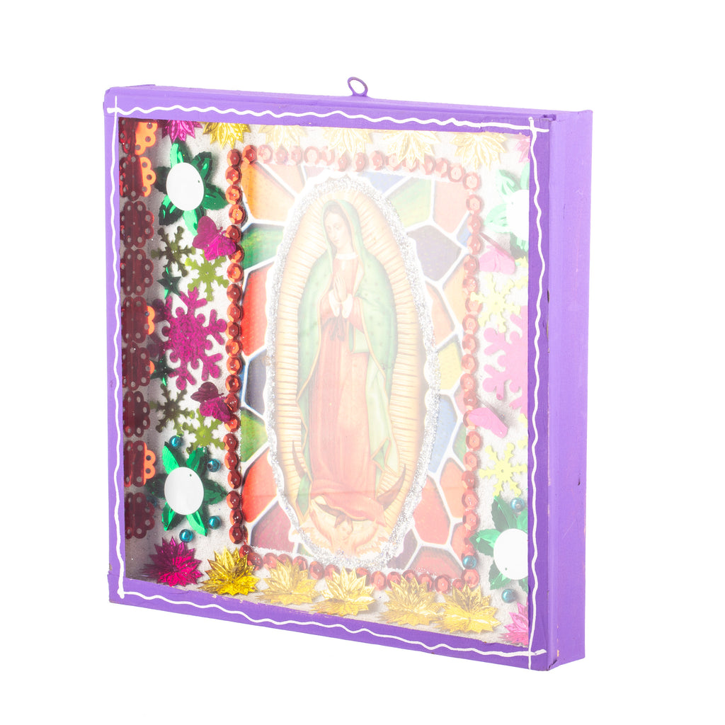 Mexican Handcrafts // Virgin Mary Glass Box / Wall Hanging I