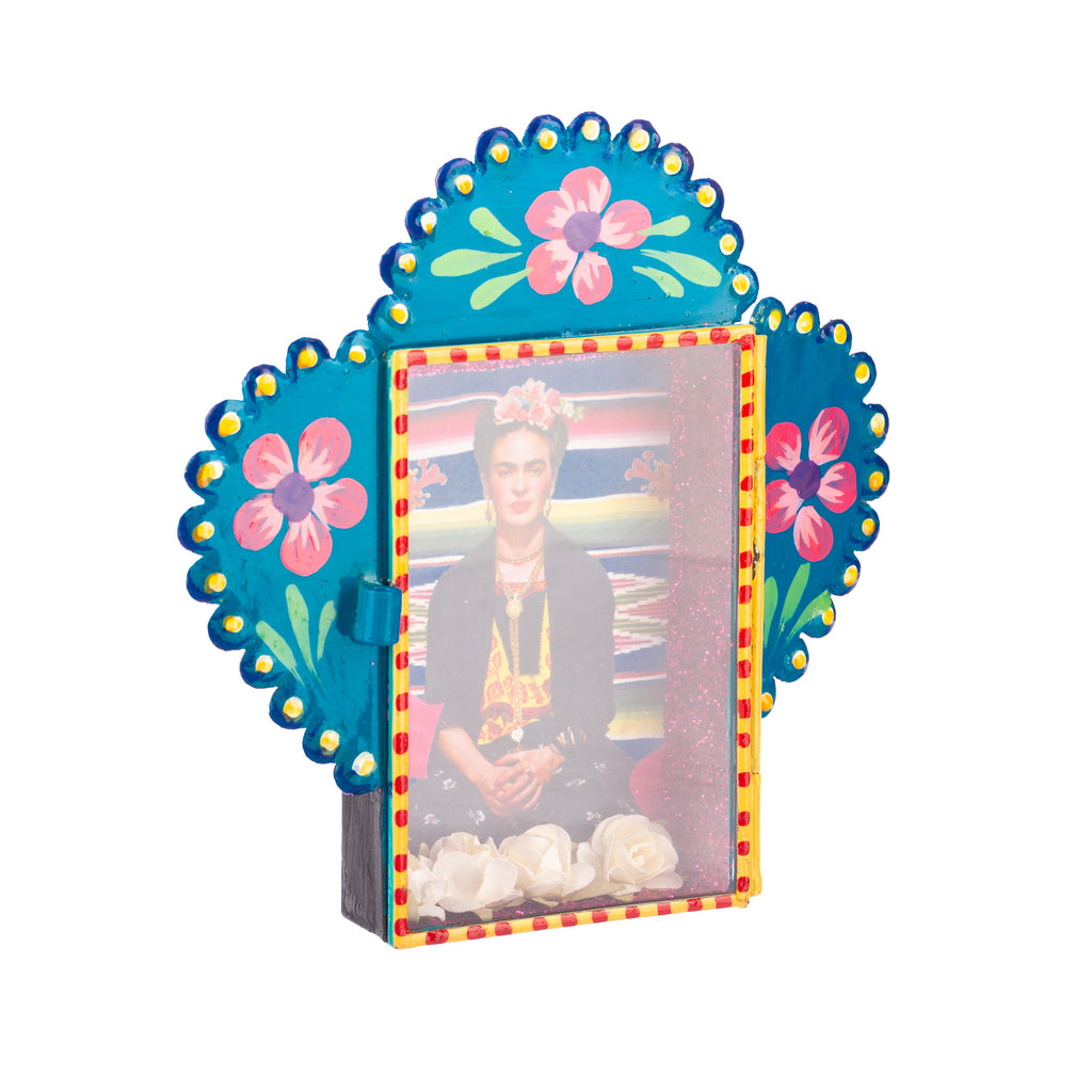 Mexican Handcrafts // Blue Frida Glass Box Ornament / Hanging