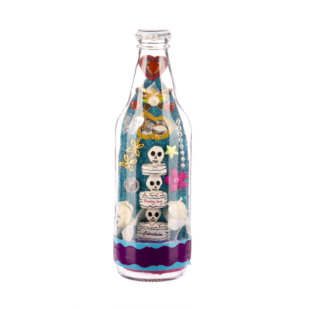 Mexican Handcrafts // Day Of The Dead Beer Bottle I