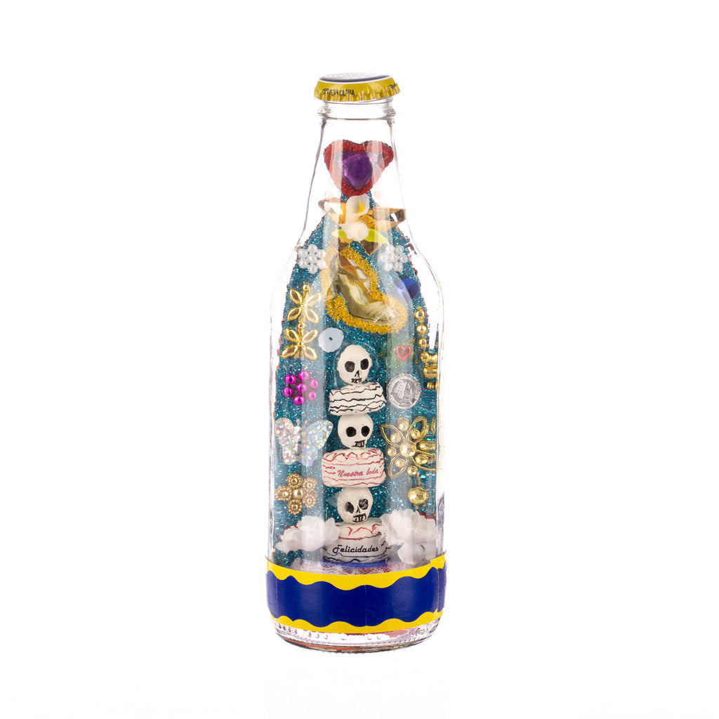 Mexican Handcrafts // Day Of The Dead Beer Bottle II