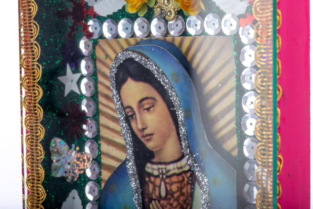 Mexican Handcrafts // Virgin Mary Glass Box - Pink