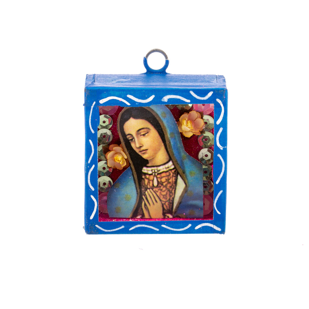 Mexican Handcrafts // Mini Mary Glass Box / Wall Hanging II
