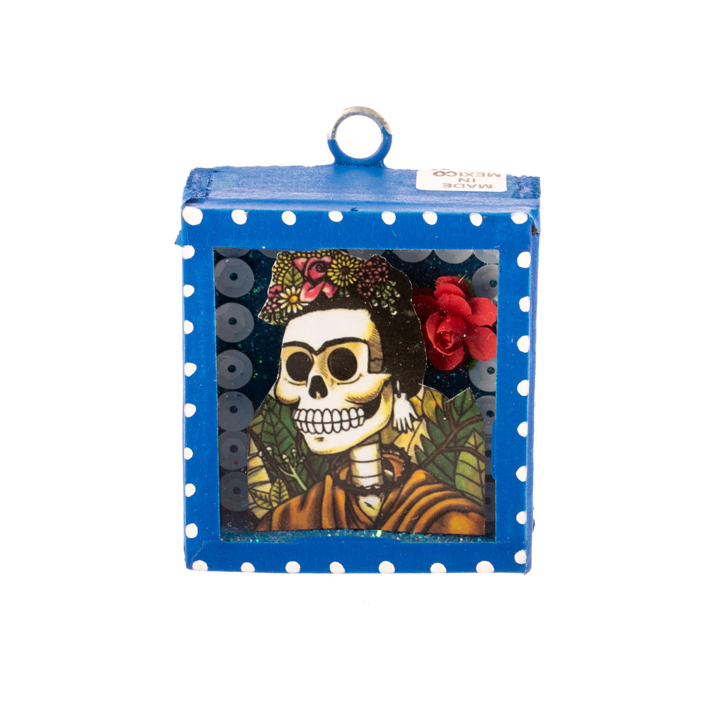 Mexican Handcrafts // Mini Day Of The Dead Glass Box / Wall Hanging III