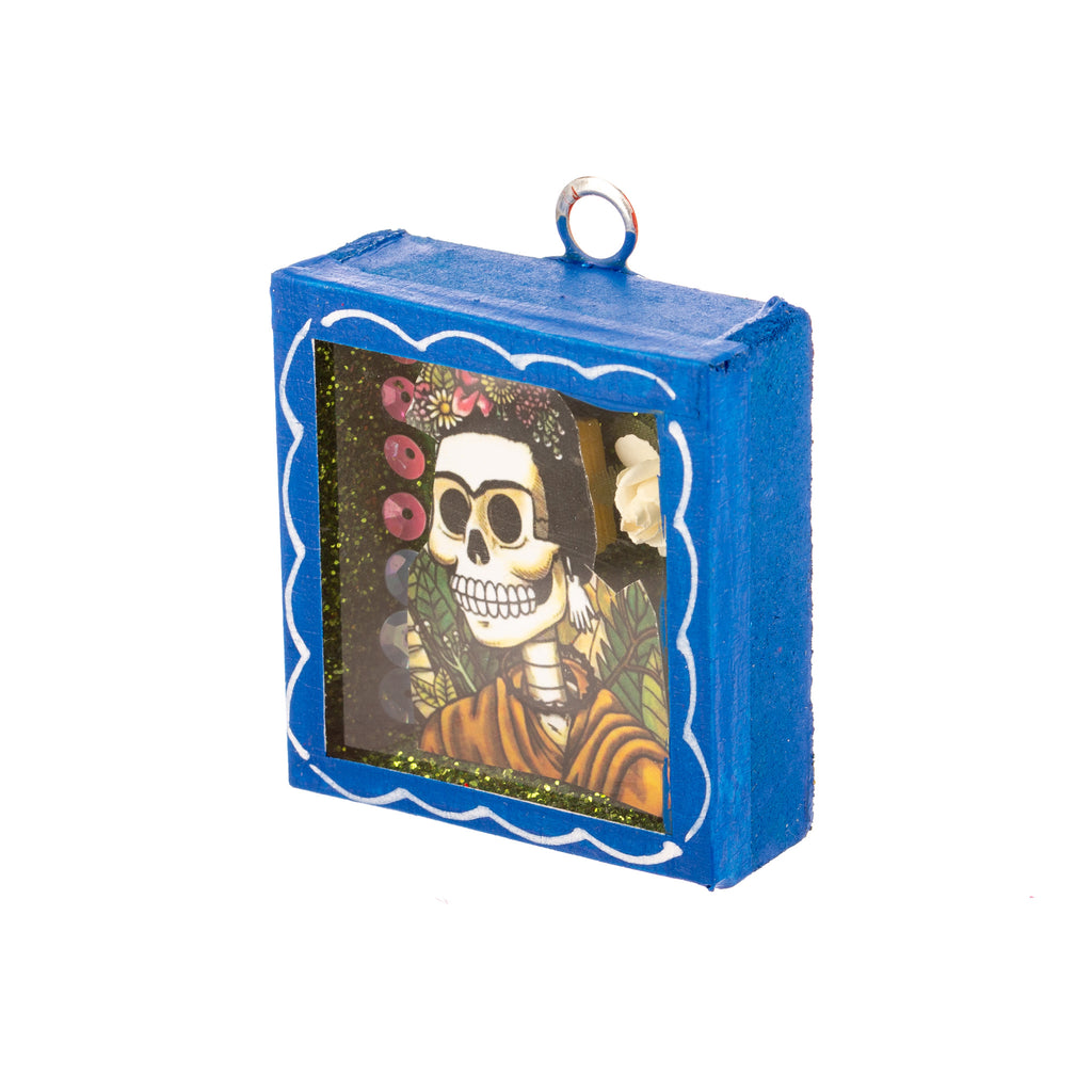 Mexican Handcrafts // Mini Day Of The Dead Glass Box / Wall Hanging II