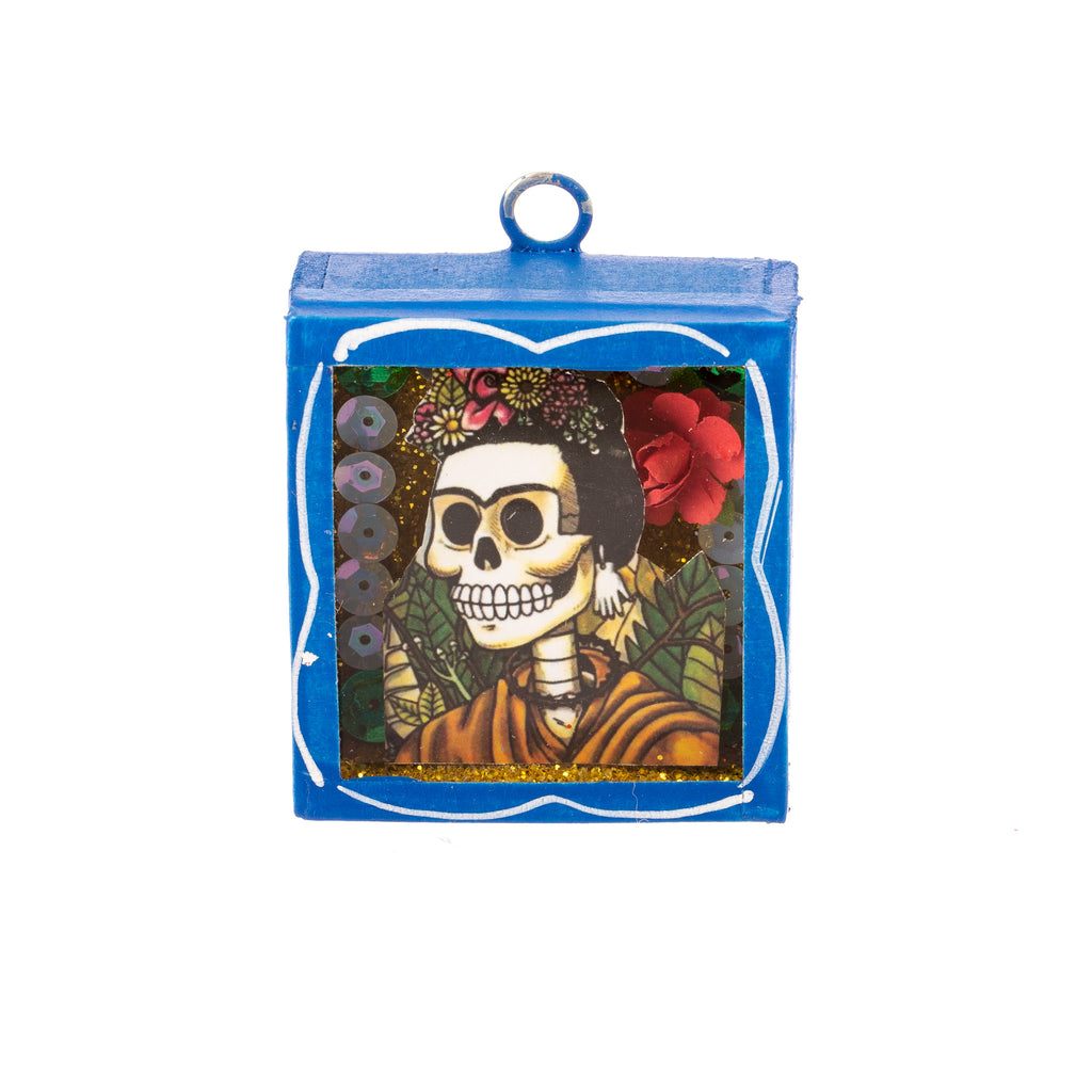 Mexican Handcrafts // Mini Day Of The Dead Glass Box / Wall Hanging I
