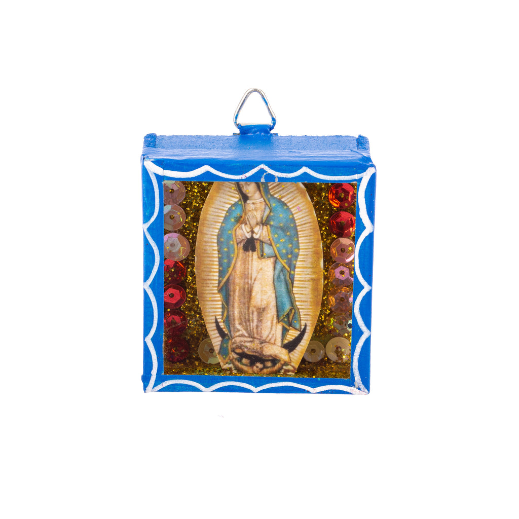 Mexican Handcrafts // Mini Guadalupe Mary Glass Box / Wall Hanging II