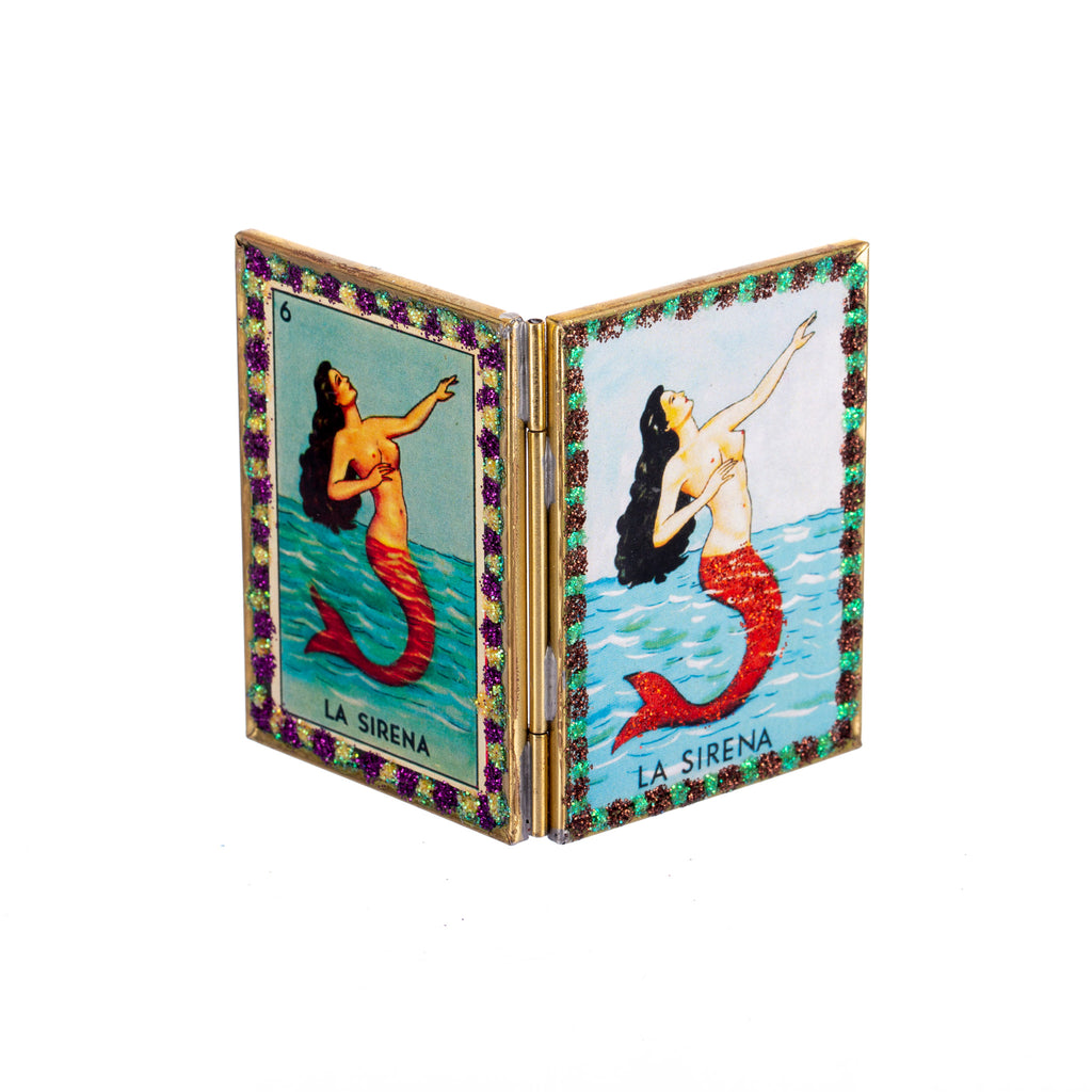 Mexican Handcrafts // Mermaid Compact Mirror - Assorted Glitter